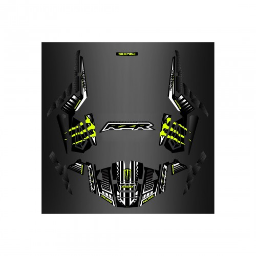 foto del kit, Kit de decoración decoración 100% Personalizado Monstruo Verde /Carbono - IDgrafix - Polaris RZR 1000 TURBO