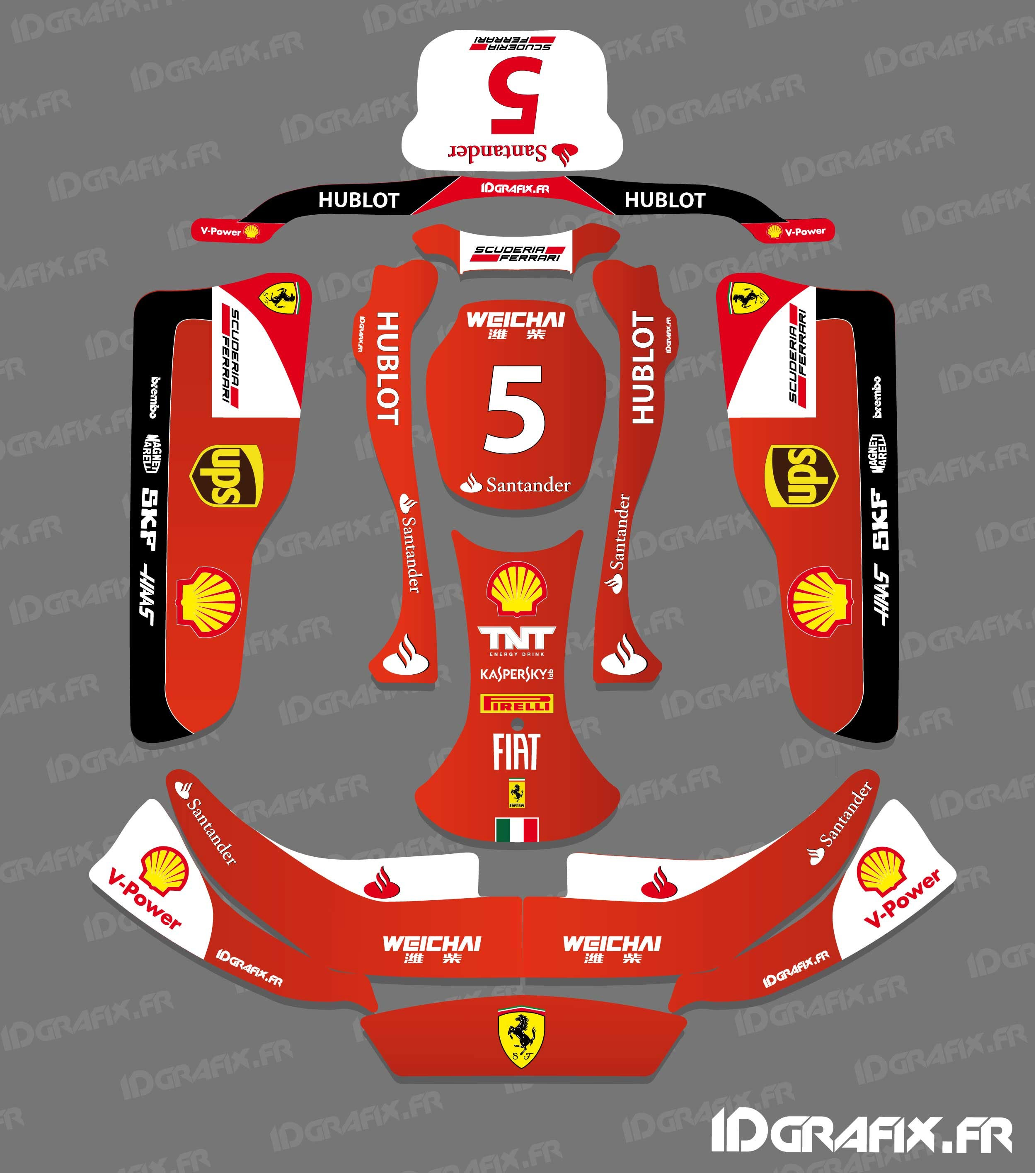 Kit deco f1 series scuderia karting crg rotax 125 idgrafix for Deco karting