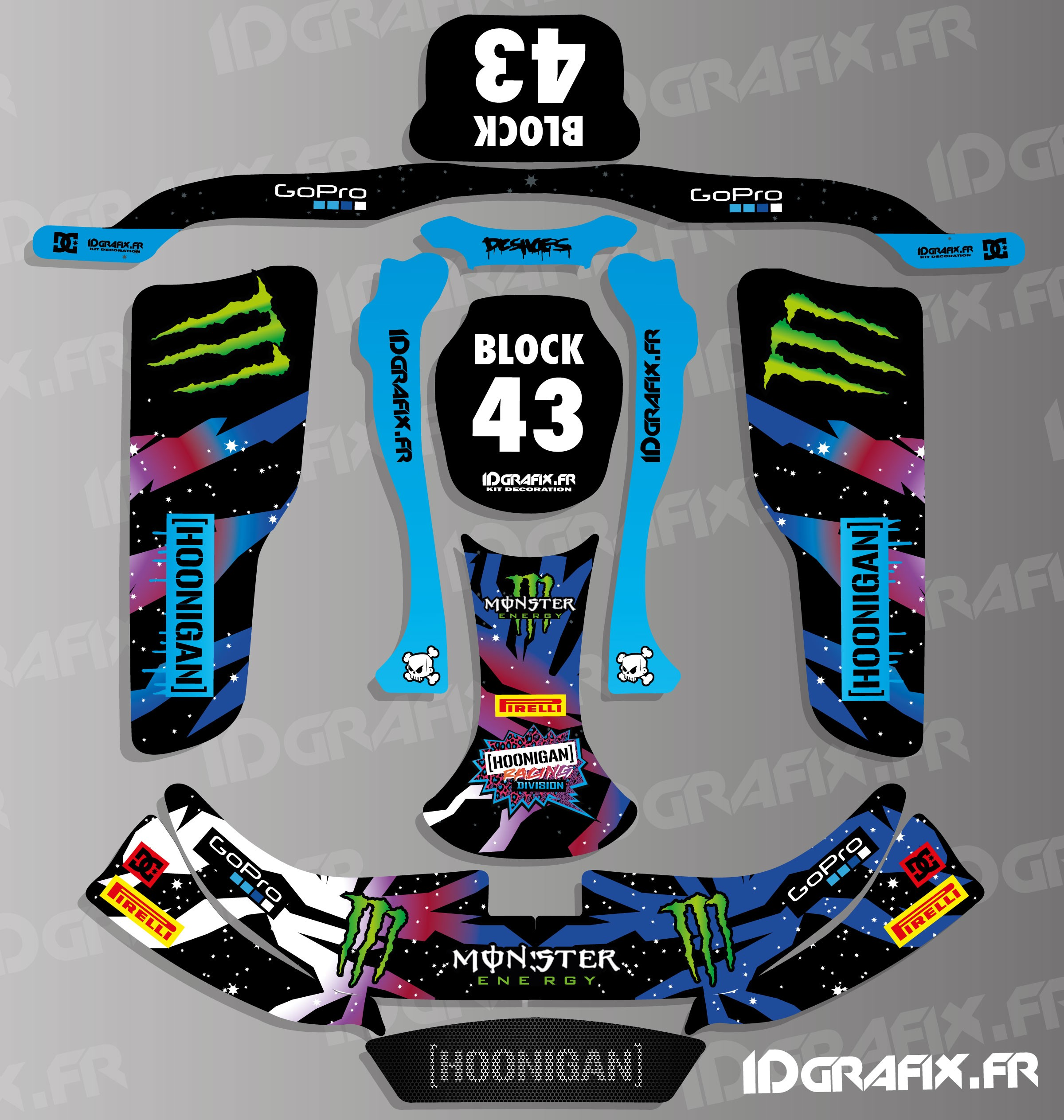 Kit deco 100 personalizado bloque de hoonigan serie de for Deco karting