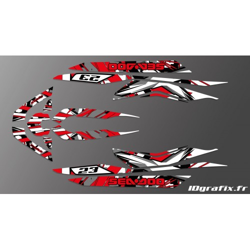 photo du kit décoration - Kit décoration X Team Red pour Seadoo RXT 260 / 300 (coque S3)