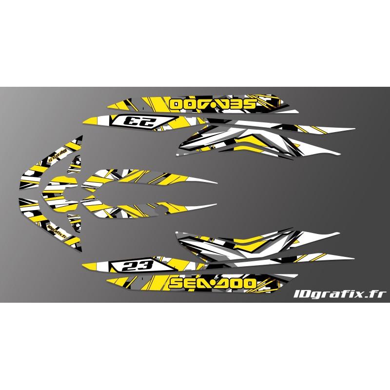 photo du kit décoration - Kit décoration X Team Yellow pour Seadoo RXT 260 / 300 (coque S3)