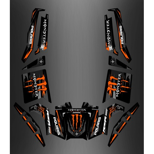 foto del kit, Kit de decoración decoración 100% Personalizado Monstruo Naranja Edición - IDgrafix - Polaris RZR 900 XP