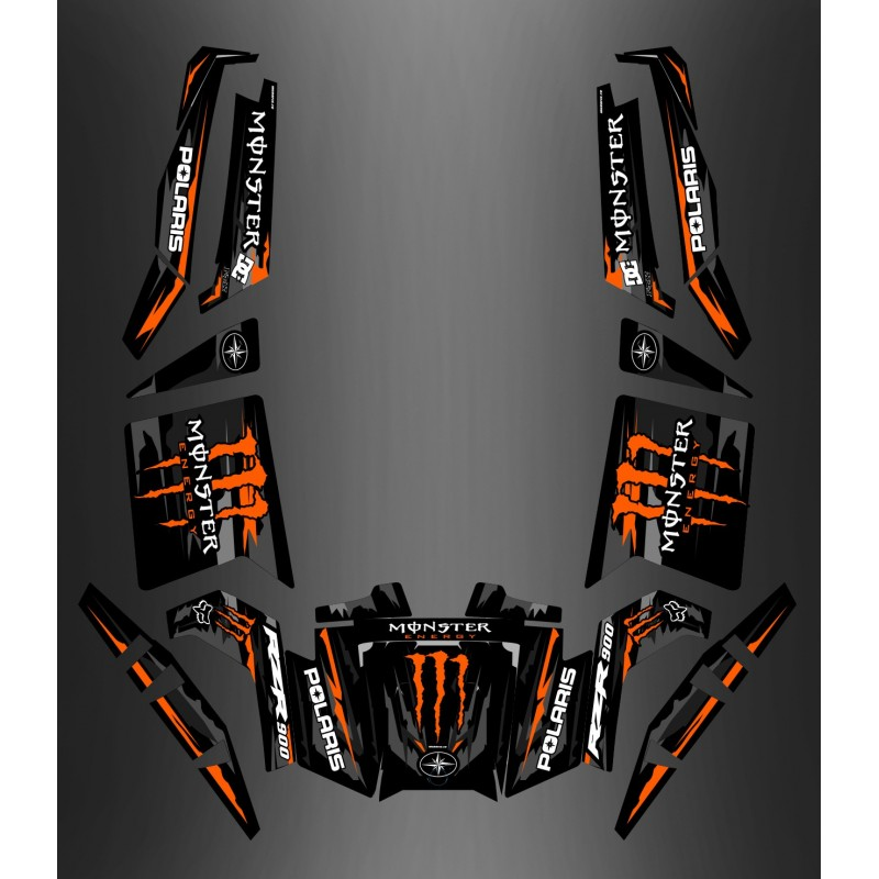 photo du kit décoration - Kit décoration 100% Perso Monster Orange Edition - IDgrafix - Polaris RZR 900 XP