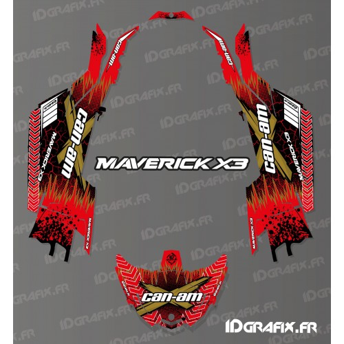 photo du kit décoration - Kit décoration Cracked Series Rouge - Idgrafix - Can Am Maverick X3