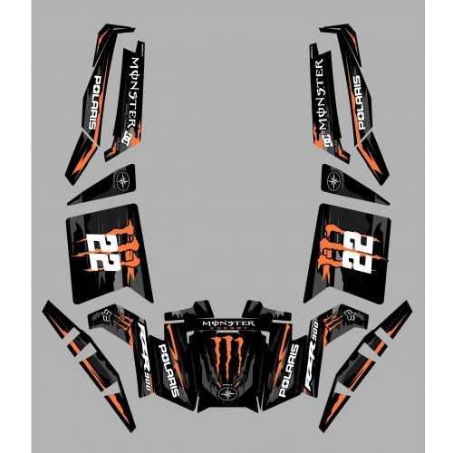 Kit décoration 100% Perso Monster Orange Edition - IDgrafix - Polaris RZR 900 XP - PITTAN