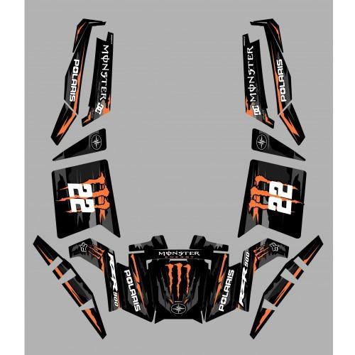 foto del kit, Kit de decoración decoración 100% Personalizado Monstruo Naranja Edición - IDgrafix - Polaris RZR 900 XP - PITTAN