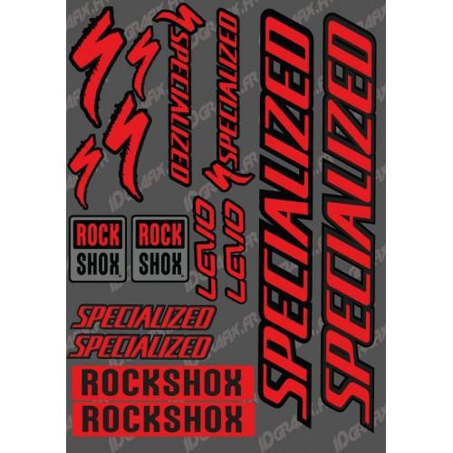 photo du kit décoration - Planche Sticker 21x30cm (Rouge/Noir) - Specialized Turbo Levo