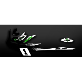 Kit décoration Monster Blanc/Vert (Medium) - pour Seadoo GTI