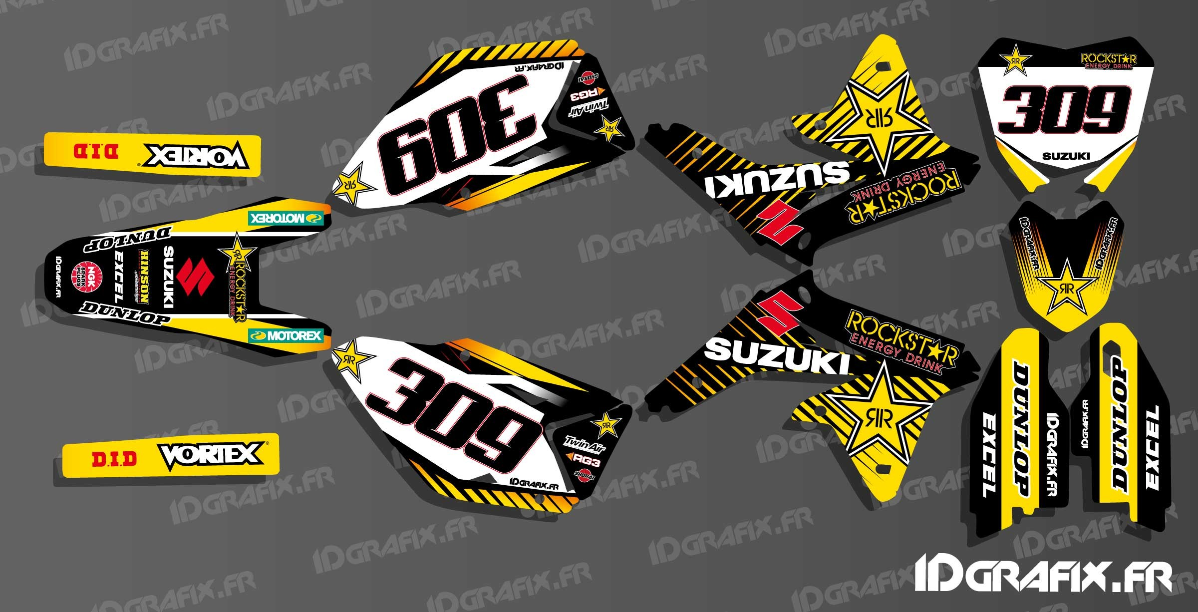 kit deco 100 custom rockstar edition for suzuki rm rmz idgrafix