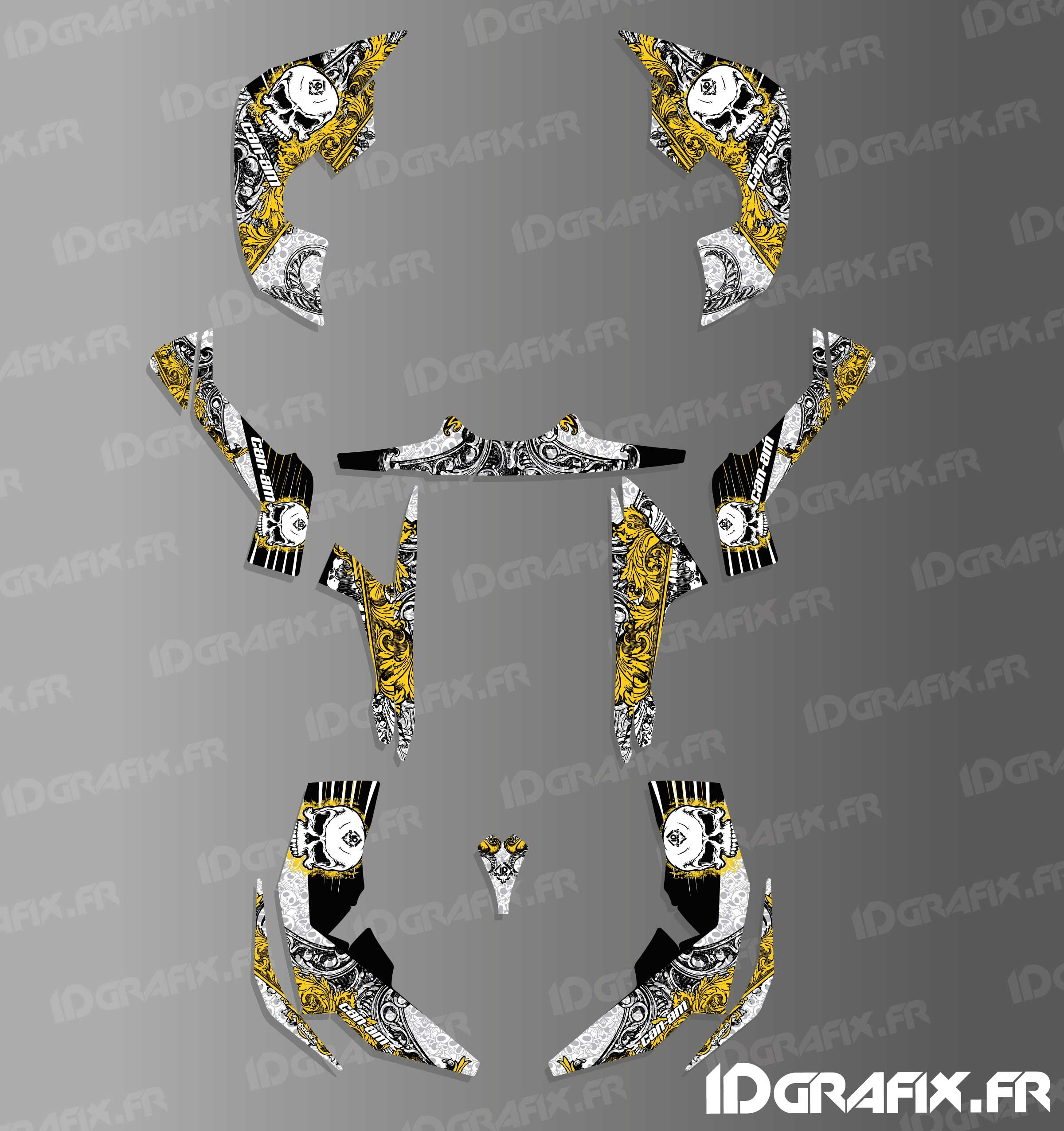 kit de decoracin de crneo de la serie completa amarillo idgrafix can