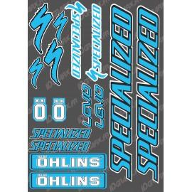 Board Sticker 21x30cm (Blue/Black) - Specialized / Ohlins