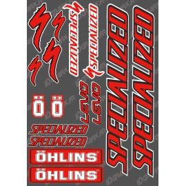 Board Sticker 21x30cm (Red/Black) - Specialized / Ohlins