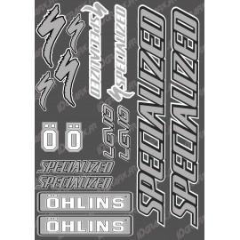 Board Sticker 21x30cm (Grey/Black) - Specialized / Ohlins