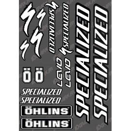 Board Sticker 21x30cm (Black/White) - Specialized / Ohlins