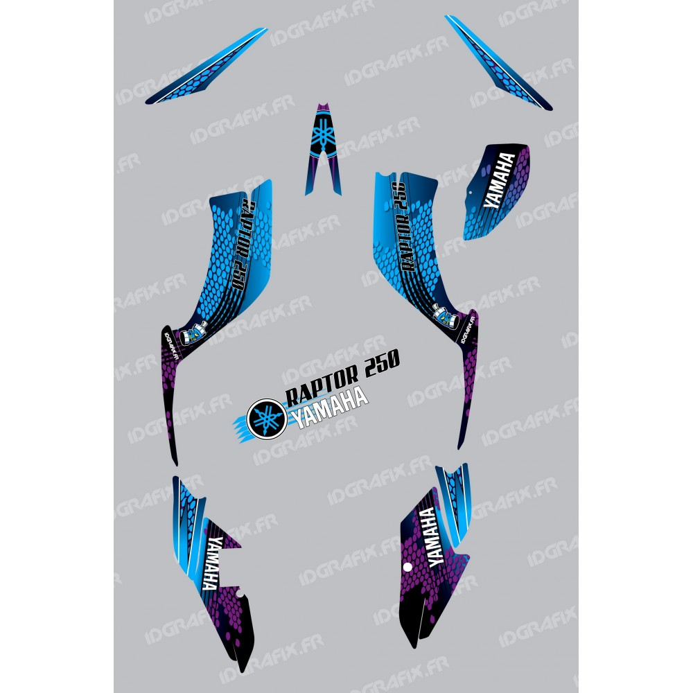 Kit d coration snake bleu idgrafix yamaha 250 raptor for Decoration yamaha