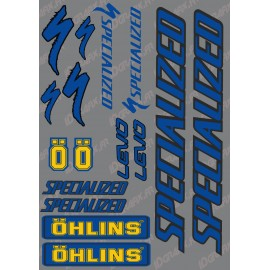 Planche Sticker 21x30cm (Bleu/Noir/Jaune) - Specialized / Ohlins