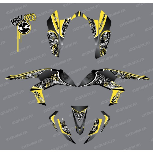photo du kit décoration - Kit décoration Tag Jaune - IDgrafix - Kawasaki KFX 450R