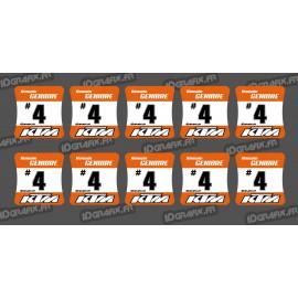 Lot de 10 Stickers de moyeux de roues KTM