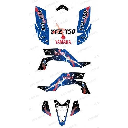 photo du kit décoration - Kit décoration Weapon Bleu/Blanc - IDgrafix - Yamaha YFZ 450