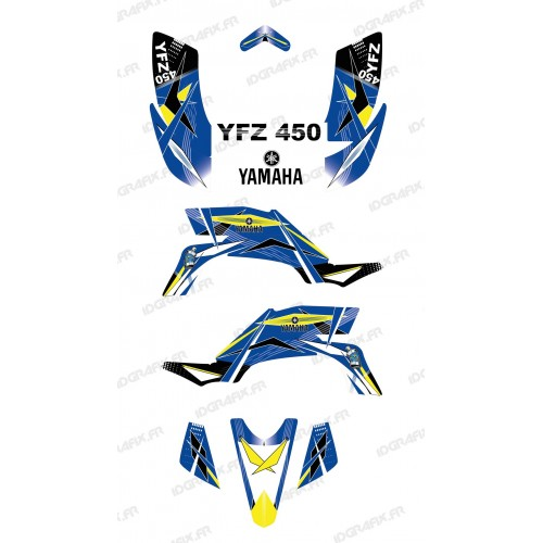 photo du kit décoration - Kit décoration Geometric Bleu - IDgrafix - Yamaha YFZ 450