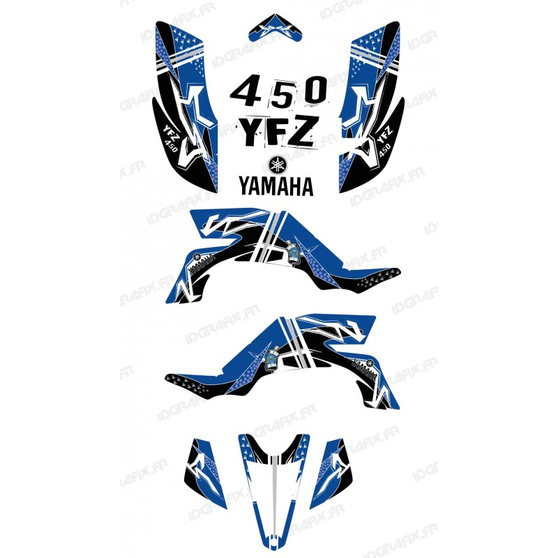 Kit d coration street bleu idgrafix yamaha yfz 450 for Decoration yamaha