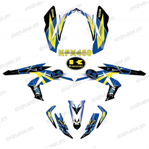 photo du kit décoration - Kit décoration Geometric Bleu - IDgrafix - Kawasaki KFX 450R