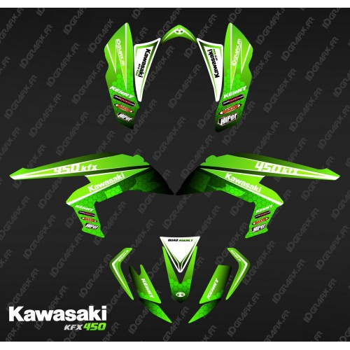 photo du kit décoration - Kit décoration Racing Power Vert - IDgrafix - Kawasaki KFX 450R