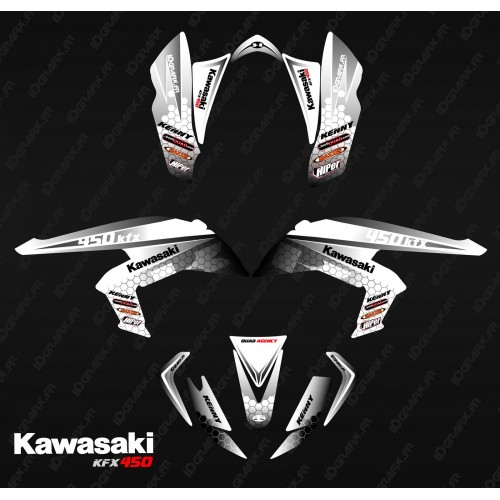 photo du kit décoration - Kit décoration Racing Power Blanc/Noir - IDgrafix - Kawasaki KFX 450R