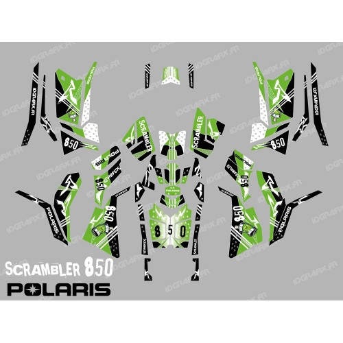 photo du kit décoration - Kit décoration Street Vert (Full) - IDgrafix - Polaris 850/1000 Scrambler