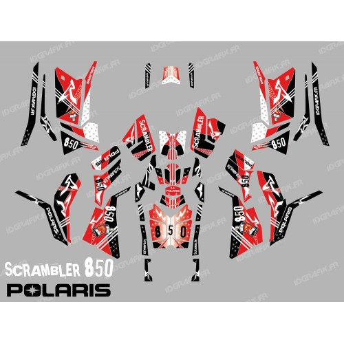 photo du kit décoration - Kit décoration Street Rouge (Full) - IDgrafix - Polaris 850 Scrambler