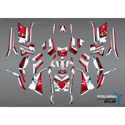 photo du kit décoration - Kit décoration SpiderStar Rouge/Blanc (Full) - IDgrafix - Polaris 850/1000 Scrambler