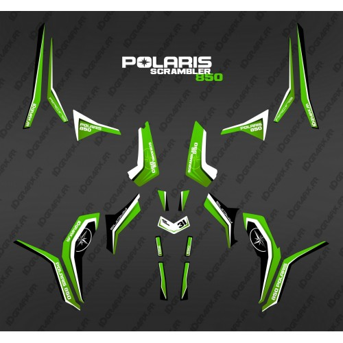 photo du kit décoration - Kit décoration Pure Vert (Light) - IDgrafix - Polaris 850 Scrambler