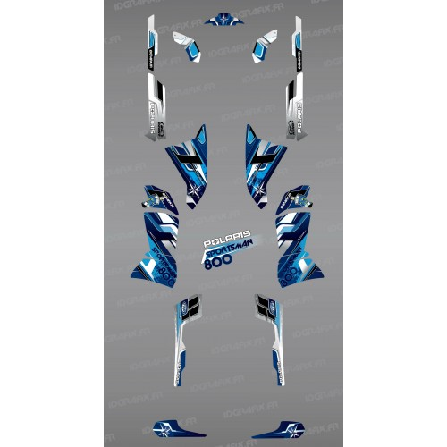 photo du kit décoration - Kit décoration Blue Pics Series - IDgrafix - Polaris 800 Sportsman