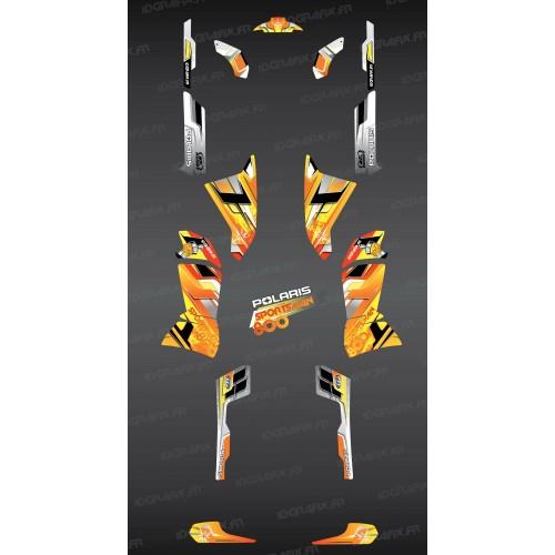 photo du kit décoration - Kit décoration Yellow Pics Series - IDgrafix - Polaris 800 Sportsman