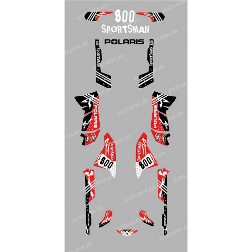 photo du kit décoration - Kit décoration Street Rouge - IDgrafix - Polaris 800 Sportsman