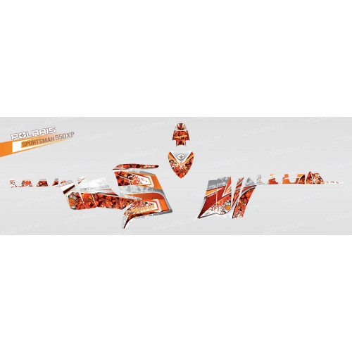 photo du kit décoration - Kit décoration Camo (Orange) - IDgrafix - Polaris 550 XPS