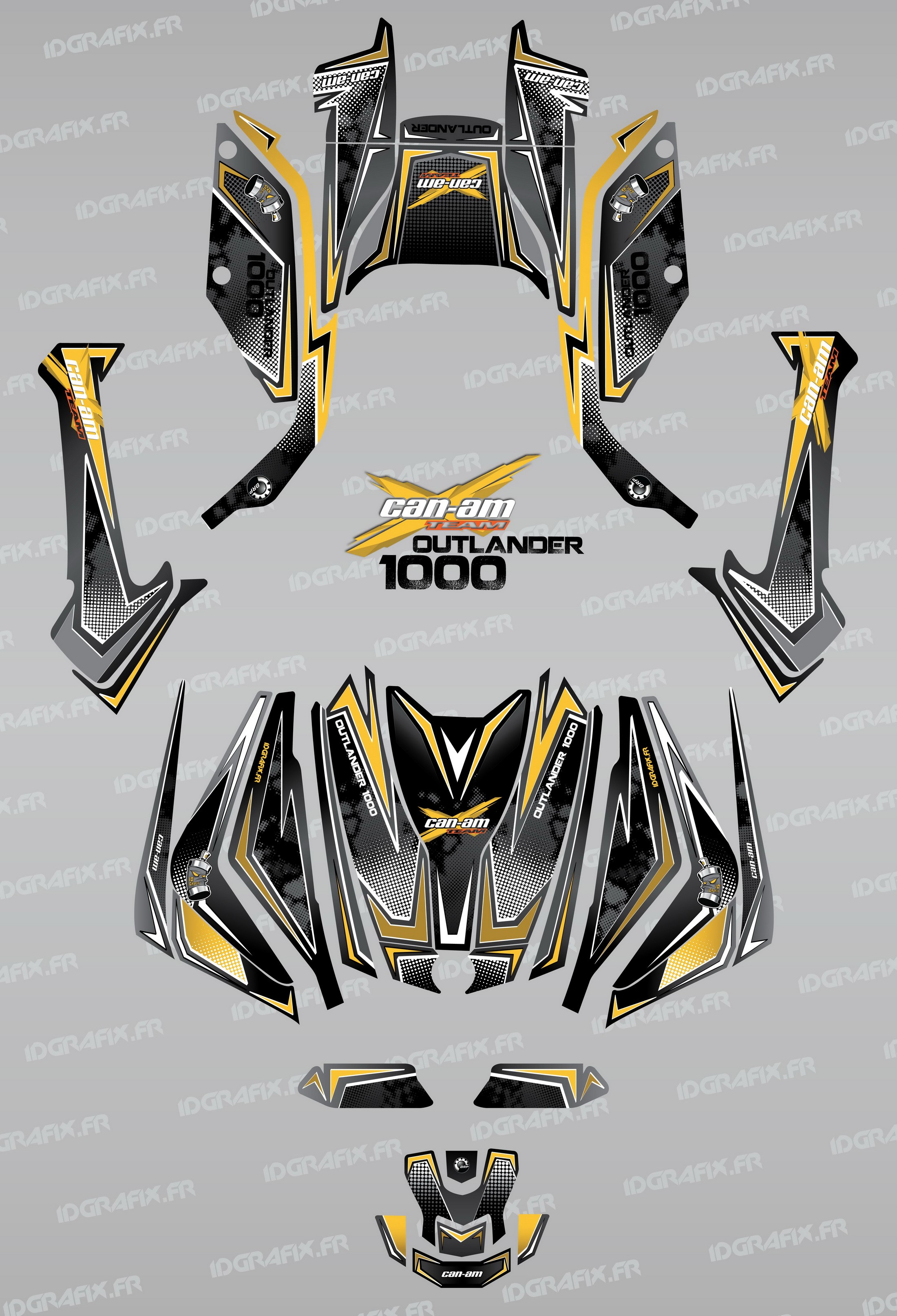 Kit décoration Full Moon (Jaune) , IDgrafix , Can Am Outlander G2 .