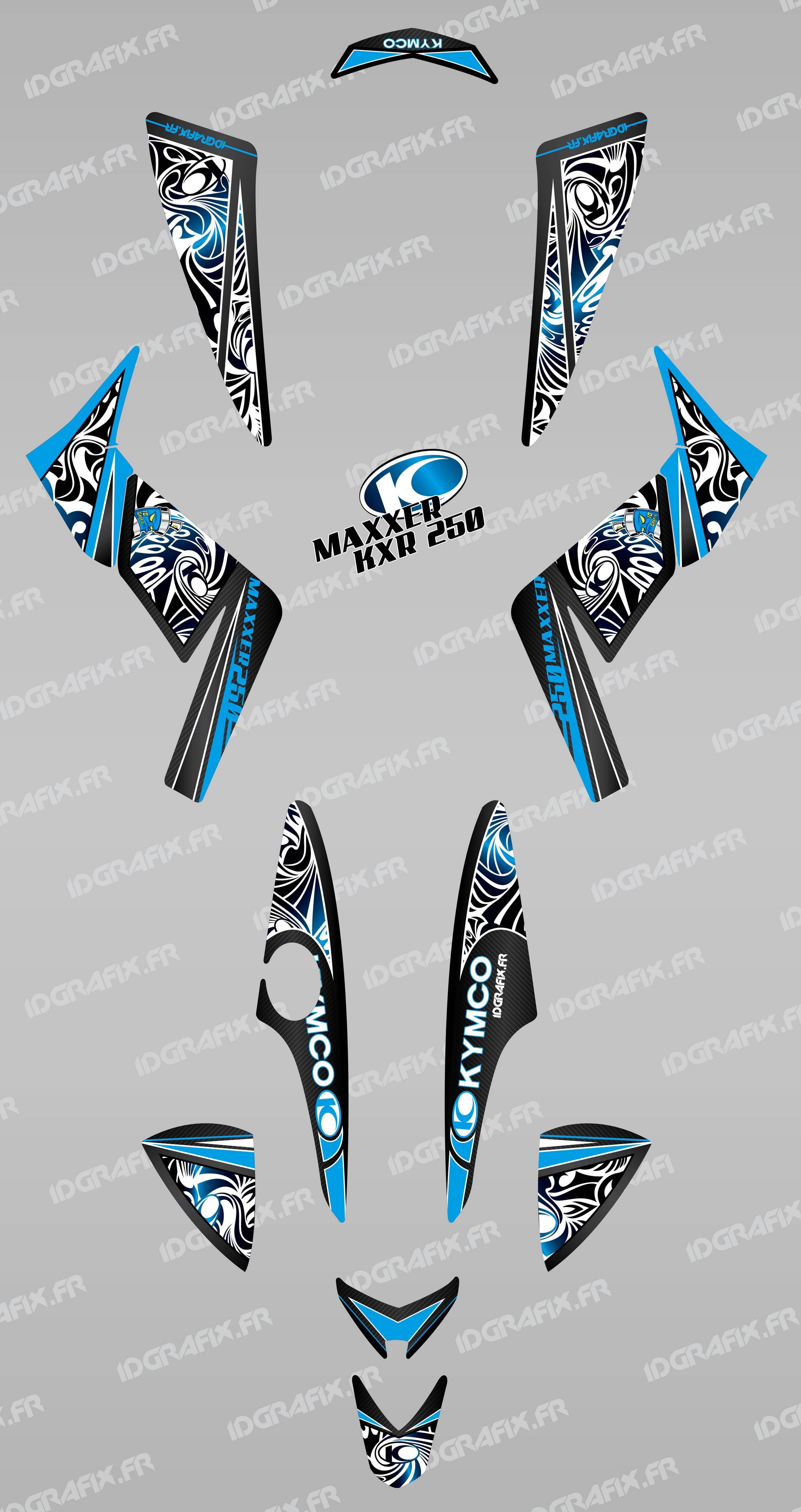 photo du kit décoration , Kit décoration Tribal Bleu , IDgrafix , Kymco 250  KXR/
