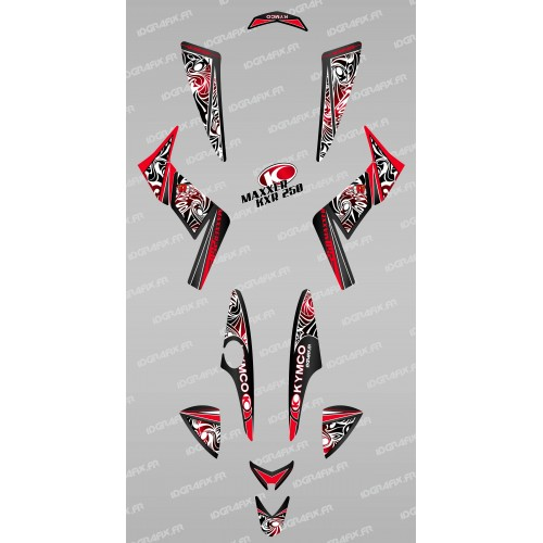 photo du kit décoration - Kit décoration Tribal Rouge - IDgrafix - Kymco 250 KXR/Maxxer