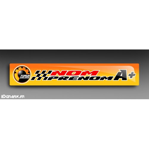 photo du kit décoration - Lot 2 Stickers Casque Nom Pilote (long 12cm) - Forum Can Am Series