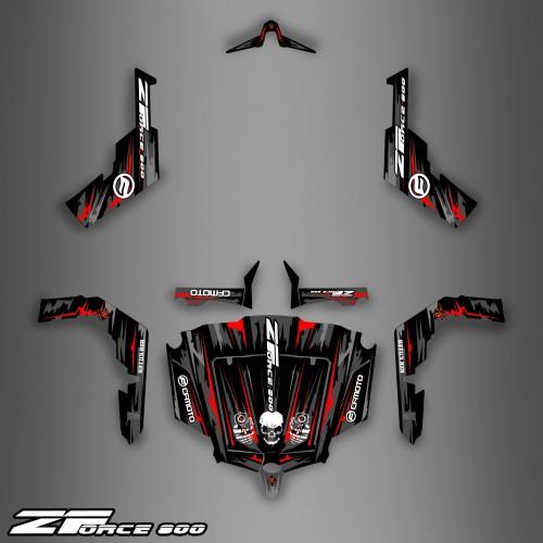 photo du kit décoration - Kit décoration Dark Red Edition - Idgrafix - CF Moto ZForce 800