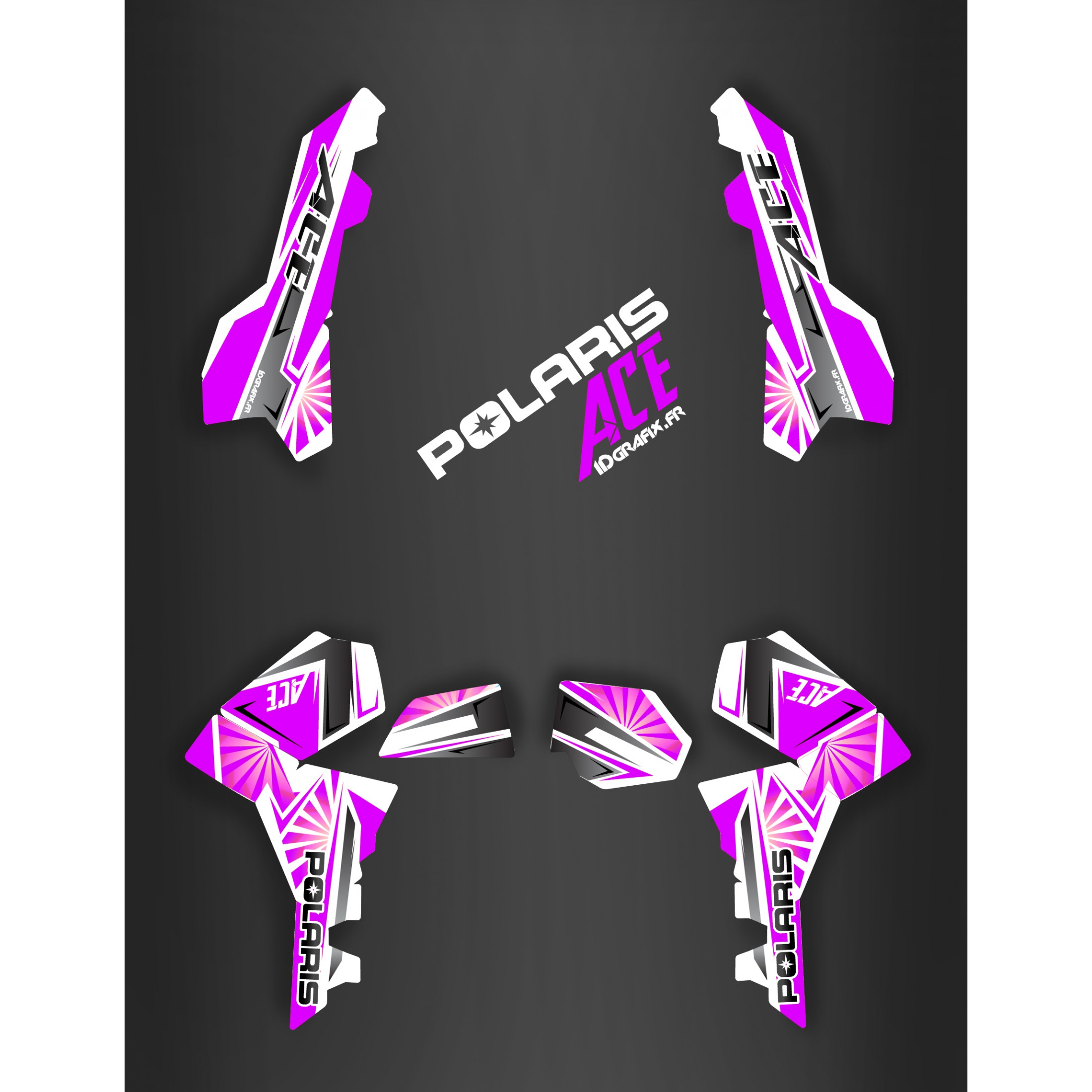 Kit décoration Japan racing Purple , IDgrafix , Polaris Sportsman ACE