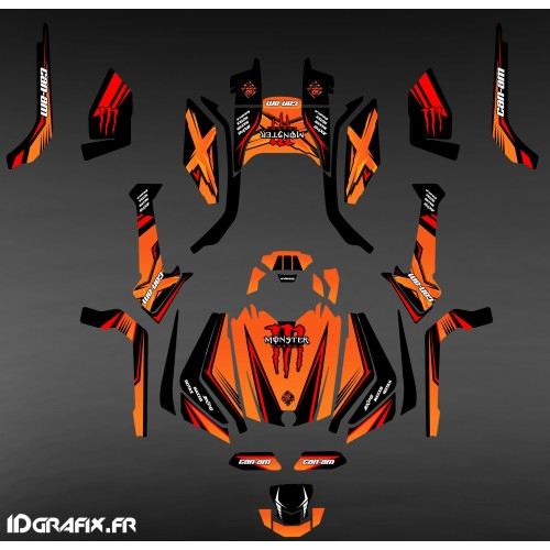 photo du kit décoration - Kit décoration Monster Edition (orange) - IDgrafix - Can Am Outlander