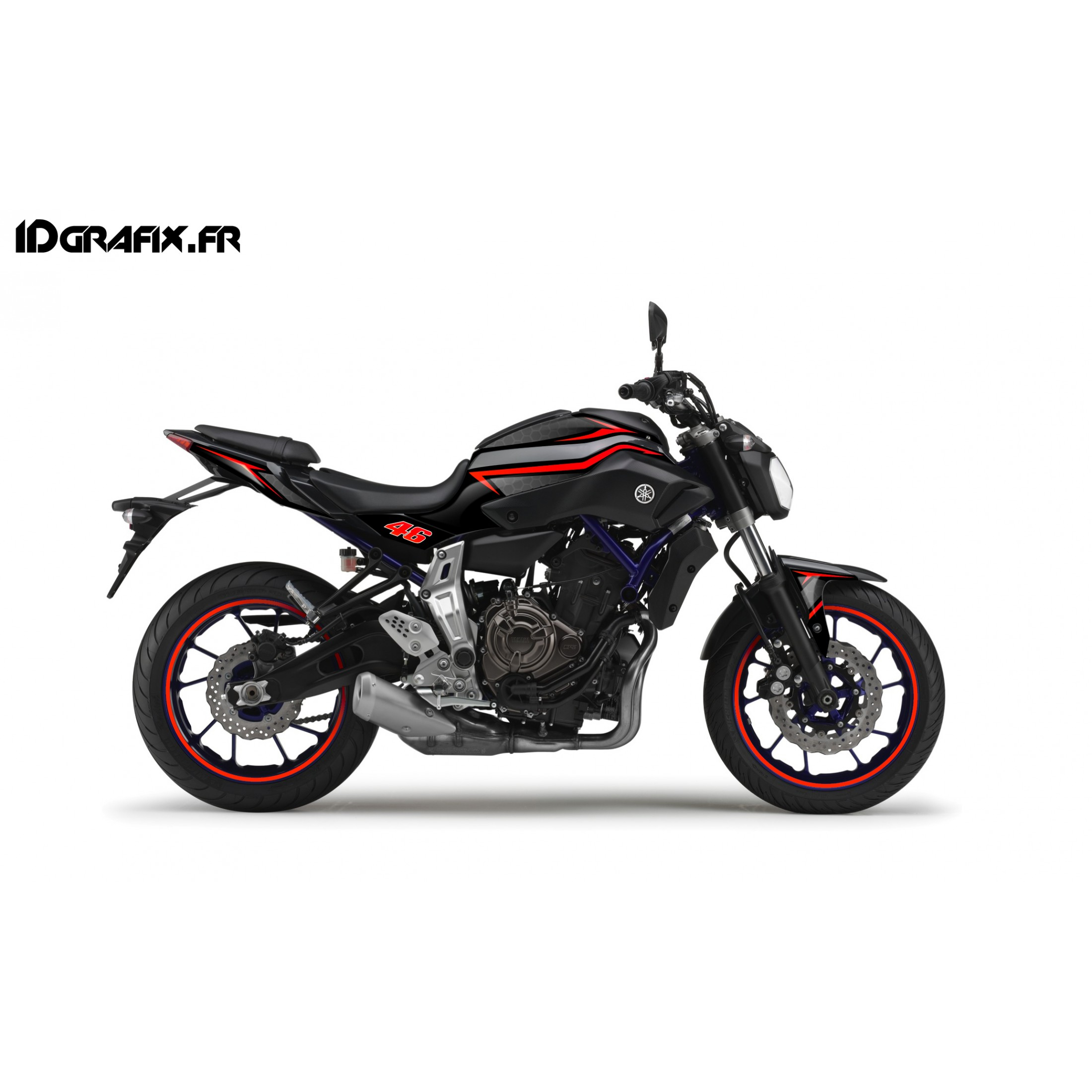 kit d coration racing rouge idgrafix yamaha mt 07. Black Bedroom Furniture Sets. Home Design Ideas
