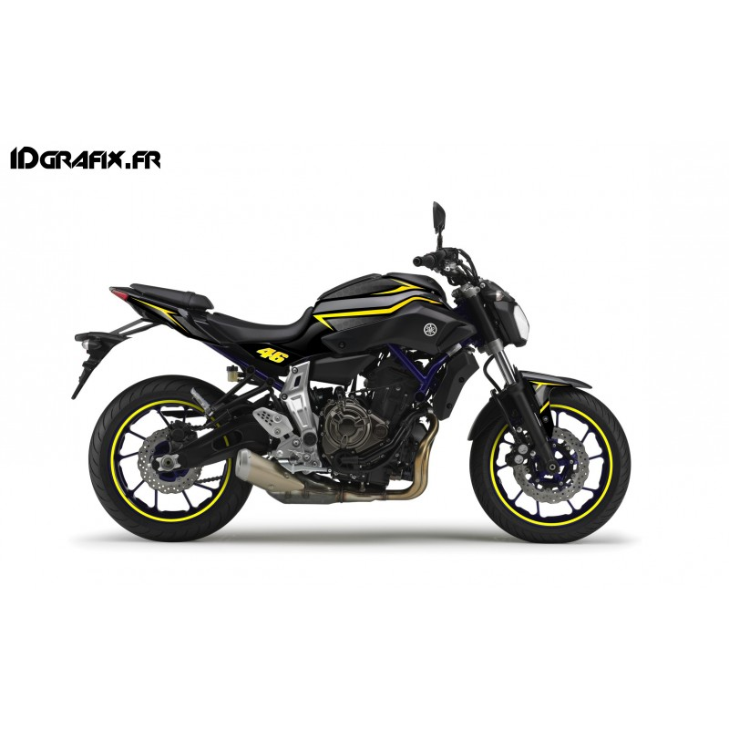 Kit decoration racing yellow idgrafix yamaha mt 07 for Decoration yamaha