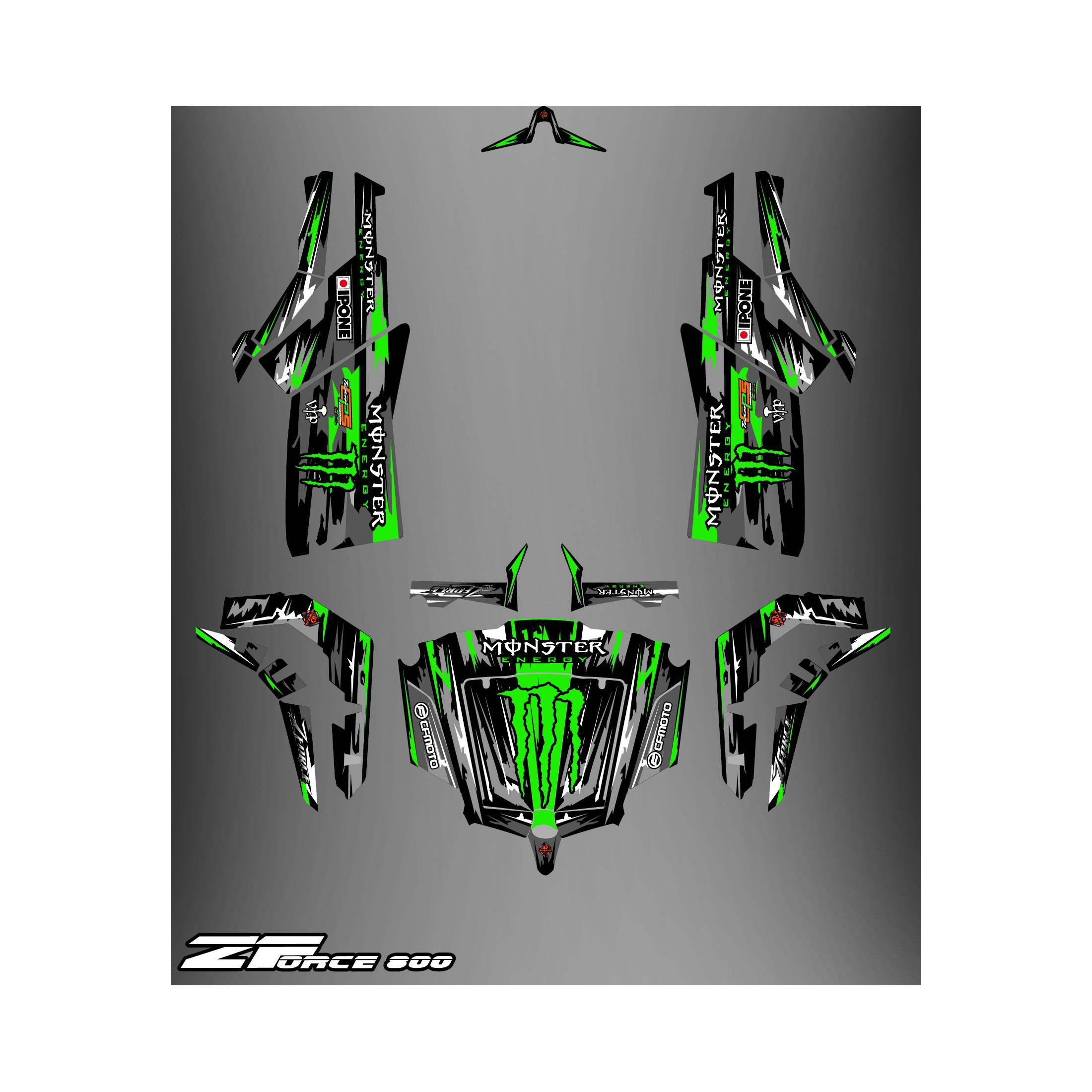 Kit d coration monster edition noir vert idgrafix cf for Porte zforce 800