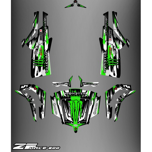 photo du kit décoration - Kit décoration Monster Edition (Gris/Vert) - Idgrafix - CF Moto ZForce 800