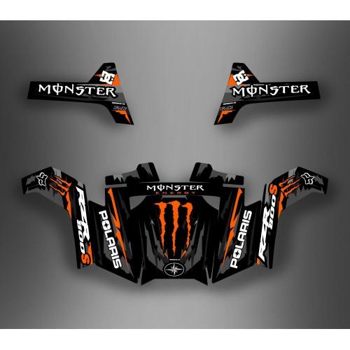 foto del kit, Kit de decoración decoración Monstruo Naranja - IDgrafix - Polaris RZR 800 / 800