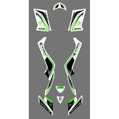 photo du kit décoration - Kit décoration Kymco Racing Blanc - IDgrafix - Kymco 50-90 Maxxer (-2014)