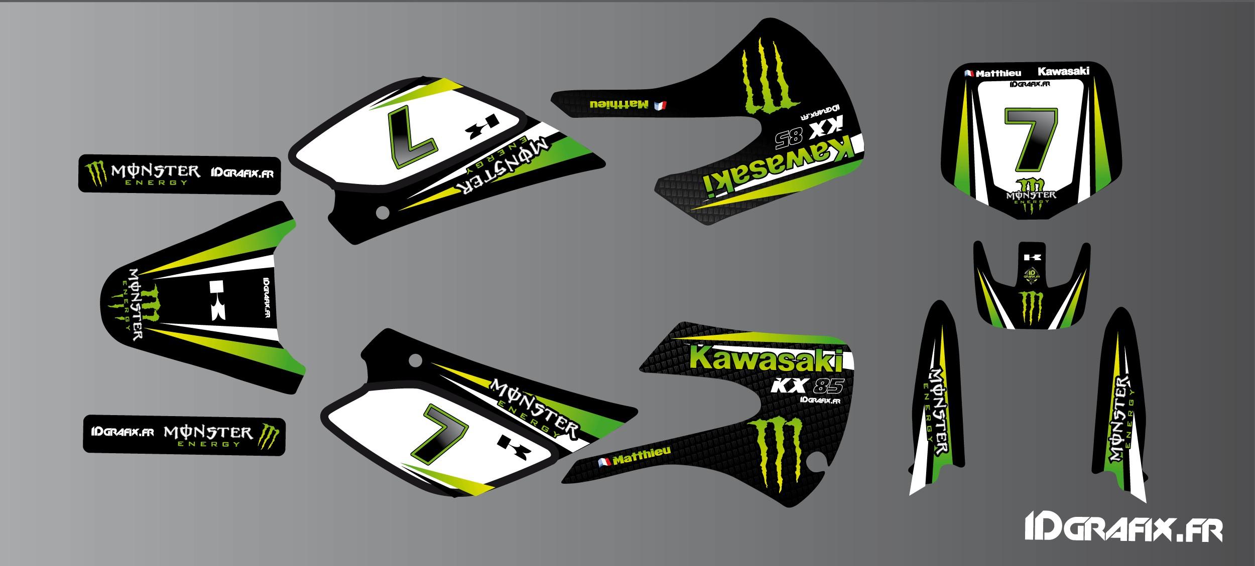 Polaris Outlaw 525 >> Kit déco Kawasaki Racing pour Kawasaki KX 65 / KX 85 ...